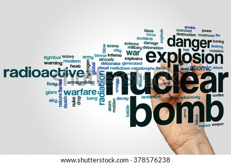 Nuclear bomb word cloud concept with explosion radioactive related tags - stock photo