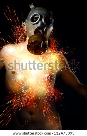 Nuclear disaster, man with gas mask, chest out fireworks