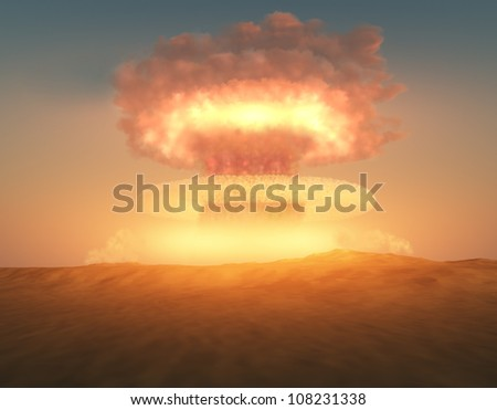 nuclear explosion - stock photo