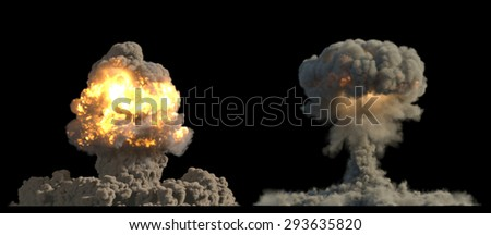 nuclear explosion mushroom cloud - stock photo