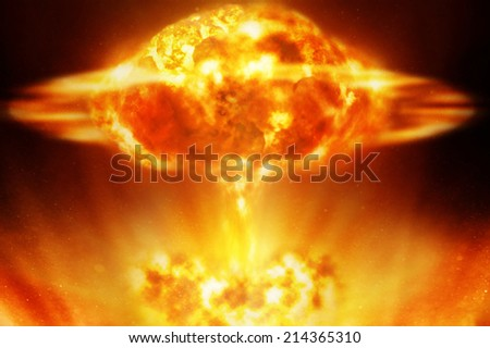 Nuclear explosion over black background - stock photo