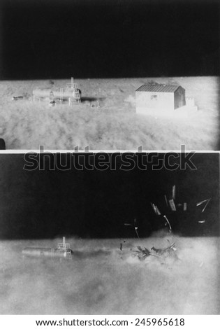 Nuclear 'Operation Cue' tested structures' ability to survive atomic bombs. Bottom image shows a disintegrating shed beside liquefied petroleum tank as blast wave hits. April 4, 1955. - stock photo