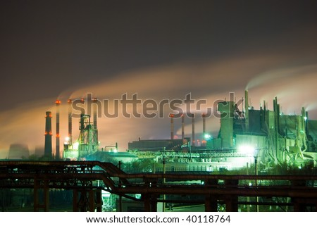 nuclear plant in japan at night - stock photo