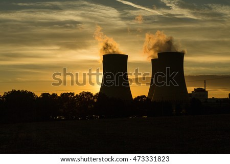 Nuclear power plant at sunset time - Temelin, Czech Republic