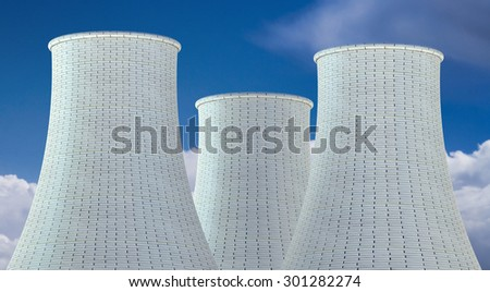 Nuclear Power Plant concept, three cooling tower - stock photo
