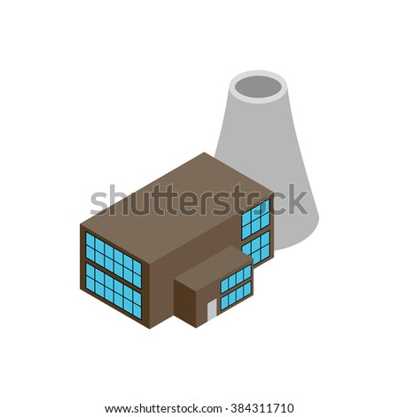 Nuclear power plant 3d isometric icon - stock photo