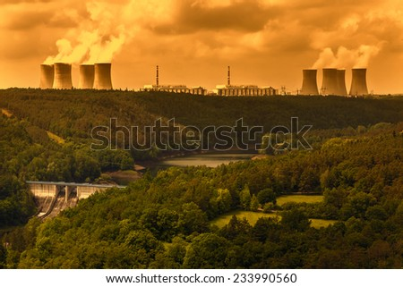 Nuclear power plant Dukovany in Czech Republic Europe - stock photo
