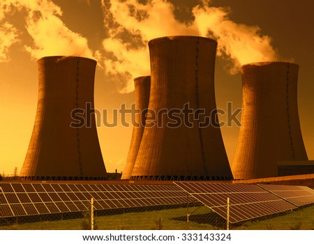 Nuclear power plant Dukovany with solar panels in Czech Republic Europe - stock photo