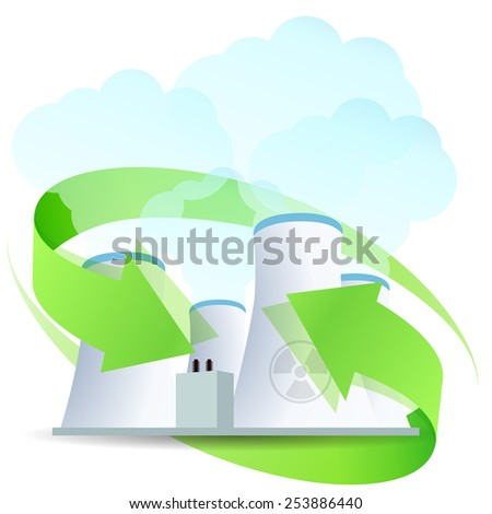 Nuclear Power Plant Icon with Arrows - stock photo