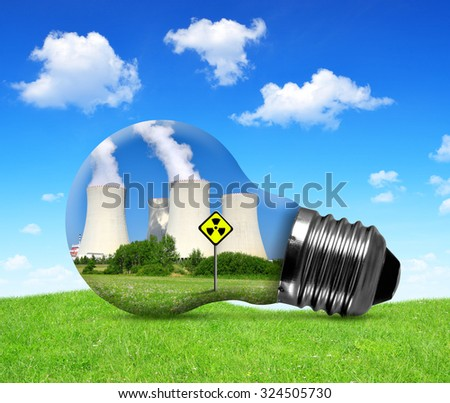 Nuclear power plant in bulb. Concept of nuclear energy. - stock photo