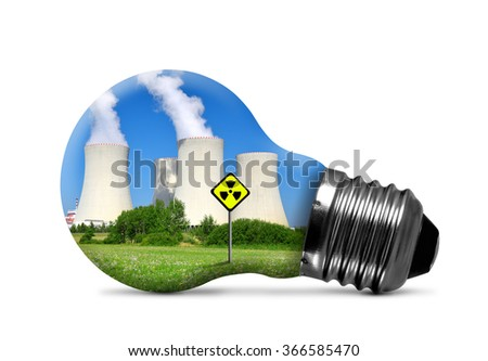 Nuclear power plant in bulb isolated on white background. Concept of nuclear energy. - stock photo