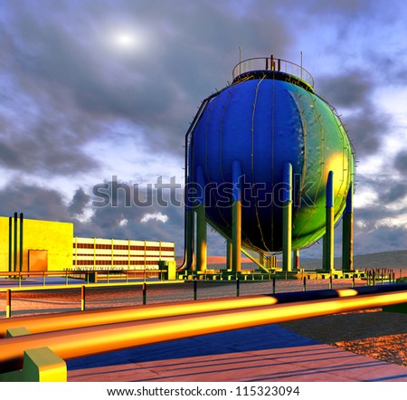 Nuclear power plant on desert - stock photo
