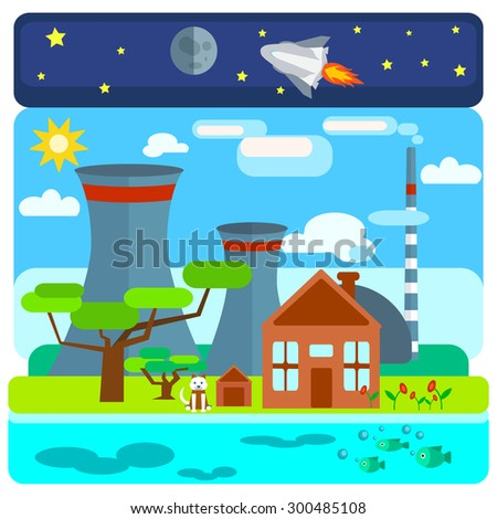 Nuclear power plant on nature background with different ecological structures, water, space, land. The house, the trees, the dog.  illustrations - stock photo