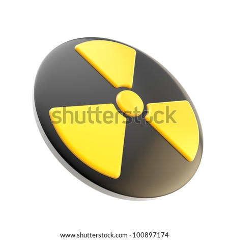 Nuclear power radiation glossy sign icon isolated on white - stock photo