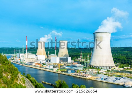 Nuclear Power Station in summer at tihange  - stock photo