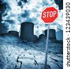Nuclear power station, stop danger of radiation and destructed earth. - stock photo