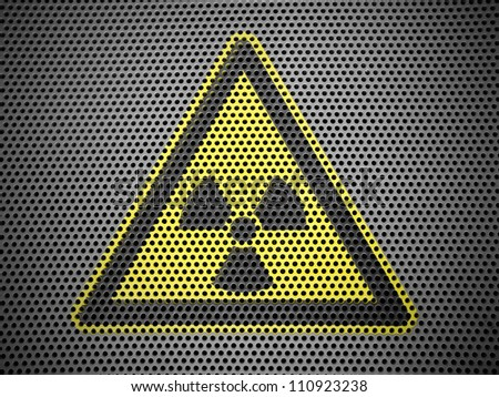 Nuclear radiation sign drawn on metall grill - stock photo