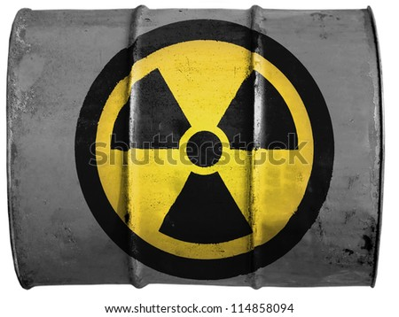 Nuclear radiation symbol painted on oil barrel - stock photo