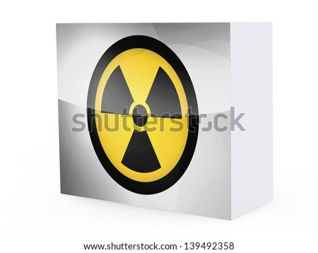 Nuclear radiation symbol painted on on software box