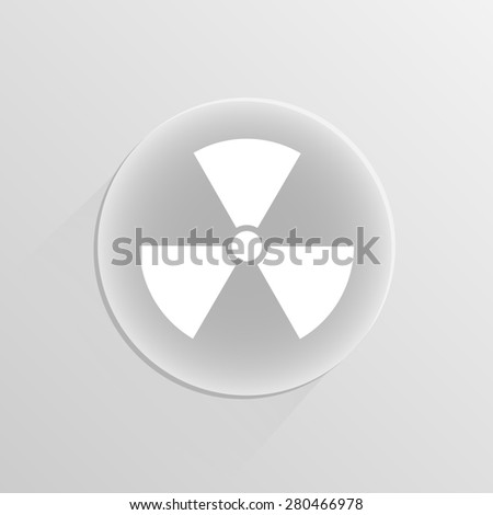 Nuclear sign. illustration on a white button with shadow  - stock photo