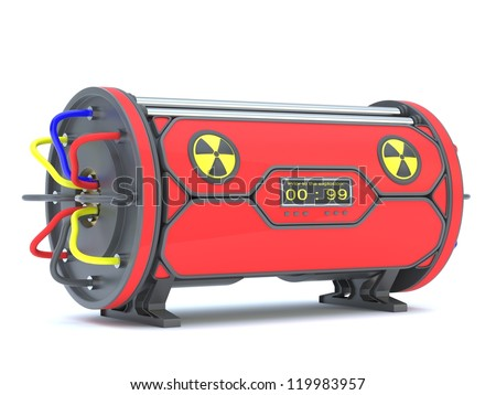 Nuclear time bomb on a white background.