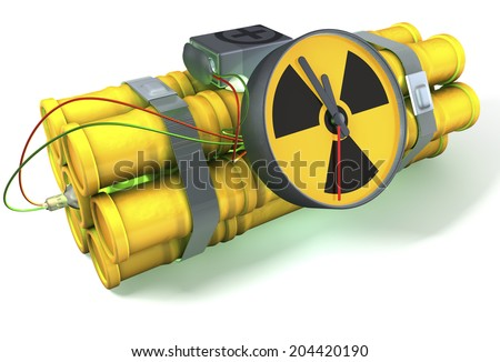 Nuclear time bomb with a light green glow, 3d rendering on white background, isolated with shadow - stock photo