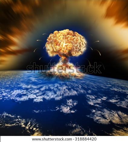 Nuclear war illustration / Atomic Bomb Explosion / Mass Extinction - stock photo