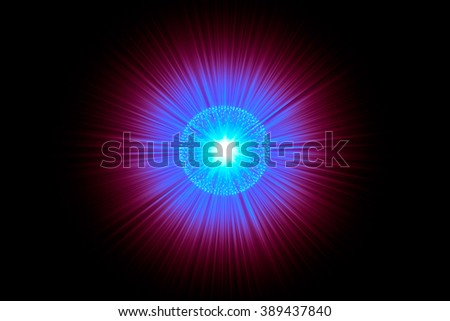 Nucleus of Atom Nuclear explode ray radiation light science abstract blur background. - stock photo