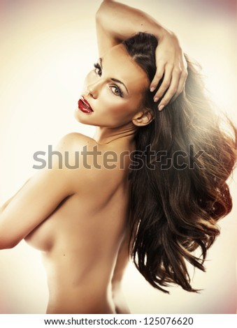 nude beautiful woman - stock photo