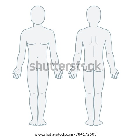 Nude Male Body Front Back View Stock Illustration 784172503 Blank Template