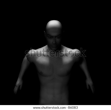 nude male series. 3d digitally rendered male model