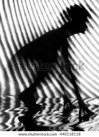 nude woman sexy Artistic black and white line blur photo - stock photo