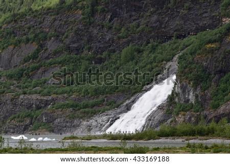 Nugget Falls near Mendenhall Glacier, Juneau, Alaska - stock photo