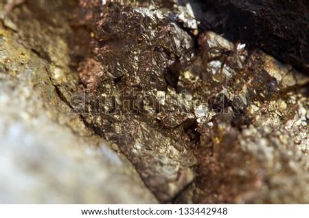 Nugget, gold, bronze, copper, iron. Macro. Extreme closeup - stock photo