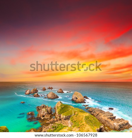 Nugget point. Coastal view at sunset - stock photo