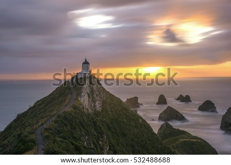 Nugget Point Lighthouse in New Zealand in long exposure