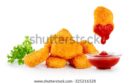 Nuggets lettuce and ketchup isolated on white background.