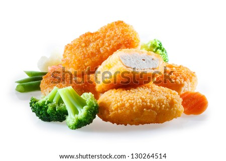 nuggets with vegetables - stock photo