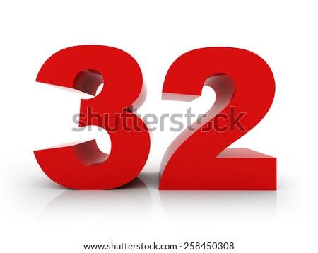 number 32 - stock photo