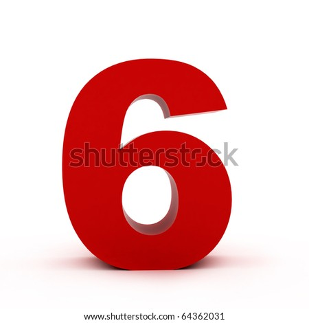 number 6 - stock photo