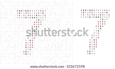 Number 7 alphabet from binary code stock photo
