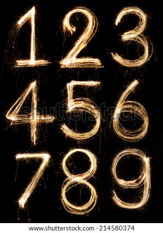 Number alphabet made from sparkler firework, light alphabet