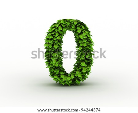 Number 0, alphabet of green leaves