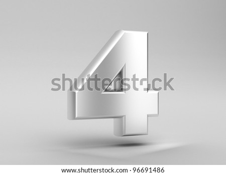 number 4 aluminum iron on grey background - stock photo
