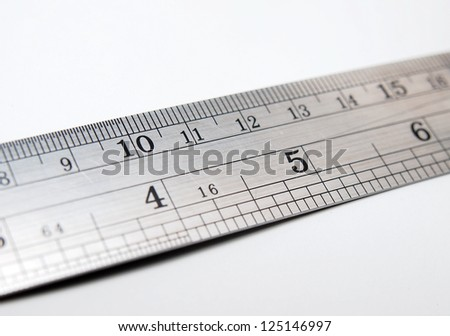 Number and digit on scale ruler