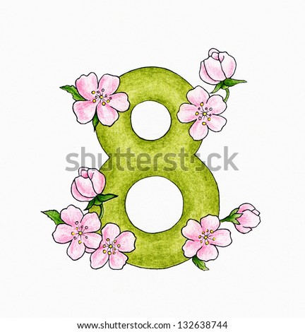 Number 8 and flowers - stock photo