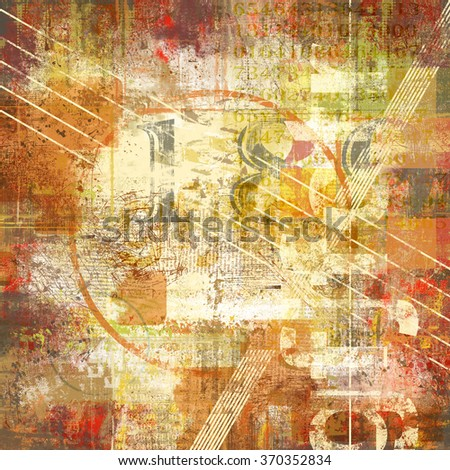 Number and typo abstract collage with red and orange grunge elements and textured background - stock photo
