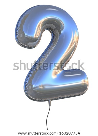 number 2 balloon 3d illustration - stock photo