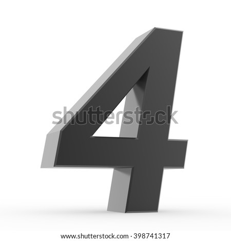 Number 4 black collection on white background illustration 3D rendering