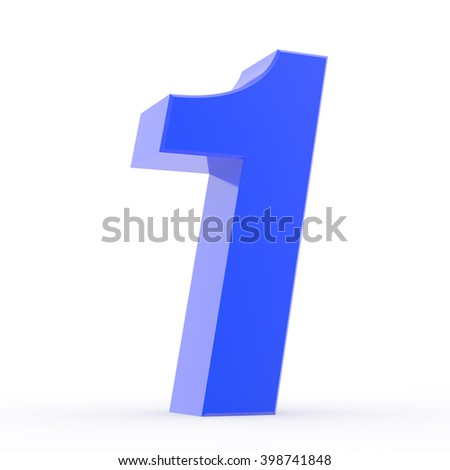Number 1 blue collection on white background illustration 3D rendering